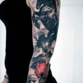 arm tattoo horse and flower realistic