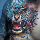amazing tiger 3d tattoo