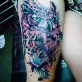 owl thigh tattoo for woman