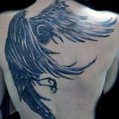 crow 3d back tattoo