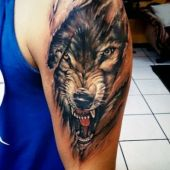 wolf arm tattoo for man