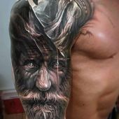 incredible 3d man face tattoo