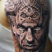 aztec face tattoo