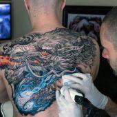 incredible dragon tattoo on back