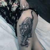 amazing gepard thigh tattoo