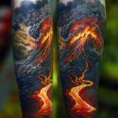 tatuaże 3d wybuch wulkanu