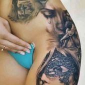 beauty 3d tattoo on hip