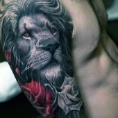 realistic tattoo lion and roses