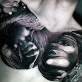 woman face on chest