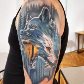 wolves tattoo on arm