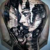 full back tattoo face and skull