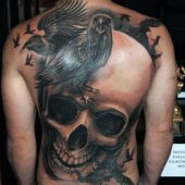 crows and skull tattoo
