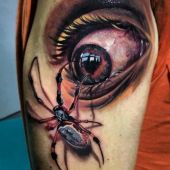 spider and eye tattoo 3d