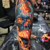 tattoo 3d demon on leg