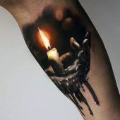 3d realistic burning candle