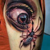 eye with spider tattoo