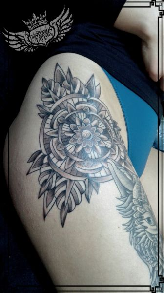 old school mandala tattoo