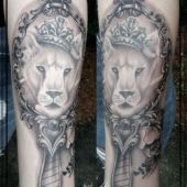 vintage mirror lioness tattoo