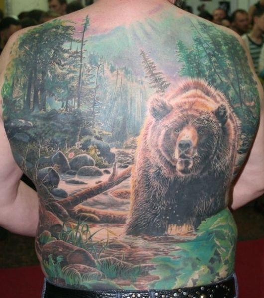 full back tattoo bear