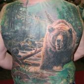 full back tattoo bear