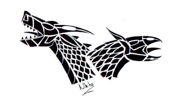 tatuaż dwie smocze głowy