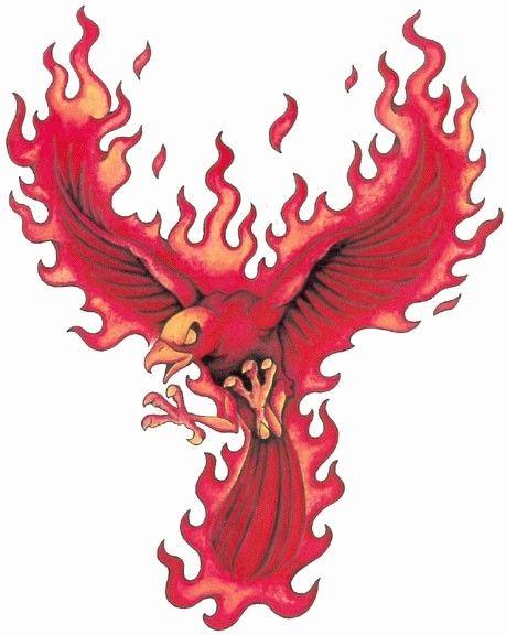 tatuaż ognisty ptak