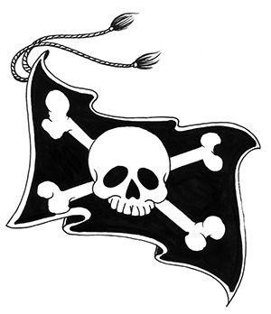 tatuaż czaszka na fladze