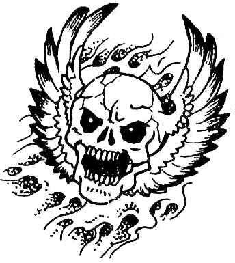 tatuaż czaszka ze skrzydłami