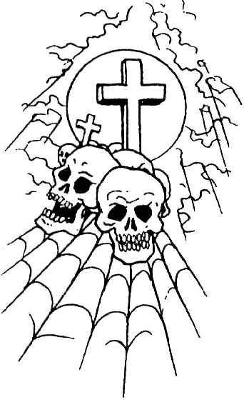 tatuaż czaszkii krzyż