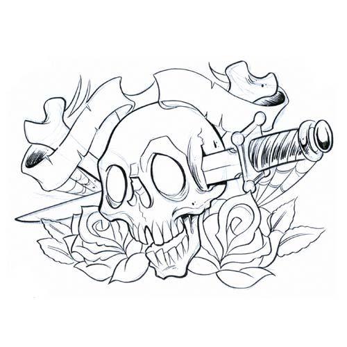 tatuaż  czaszka przebita sztyletem