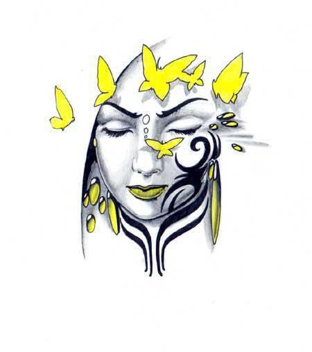 tatuaż twarz kobiety z motylami