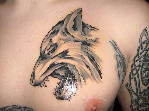 tatuaż wilk na piersi