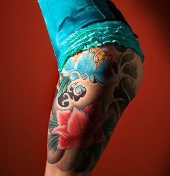 Tatuaże Na Udzie Kolorowe Kwiaty