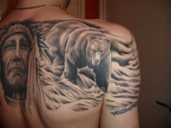 back tattoo bear and indian