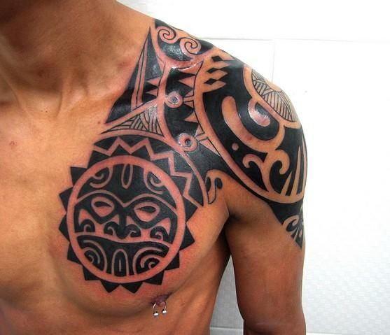 maori chest shoulder tattoo