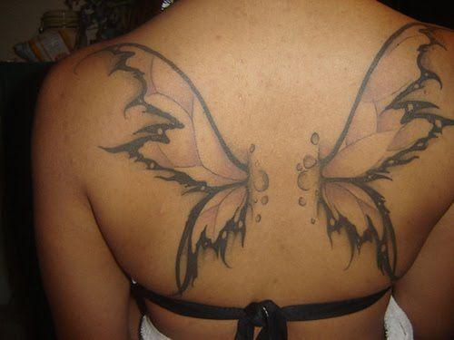 butterflt wings back tattoo