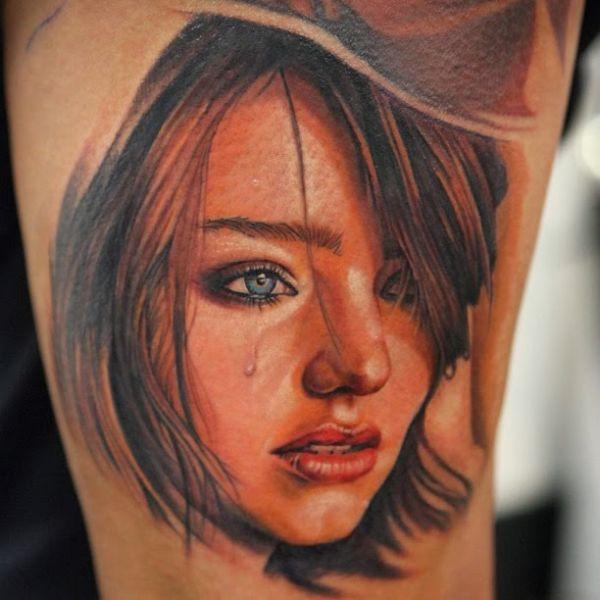 tatuaże twarz kobiety 3d