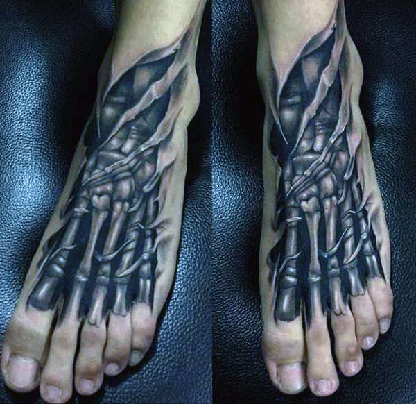 tatuaże  3d na stopie