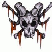 tatuaż czaszka z baranimi rogami