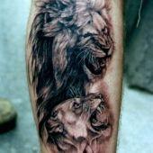 tatuaż lew i lwica