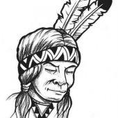 tatuaż indianin z piórami