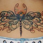 lower back tattoo dragonfly