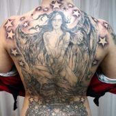 angel and stars back tattoo