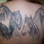tatuaż konie na plecach