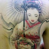 geisha back tattoos
