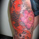 Japanese Koi Fish Tattoo Thigh