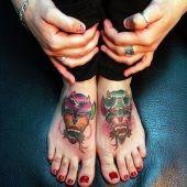 tatuaż diabeł na stopie