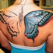 butterfly back woman tattoo 3D