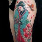 Thigh Japanese Geisha Tattoos