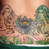 lower back tattoos lotus fairy